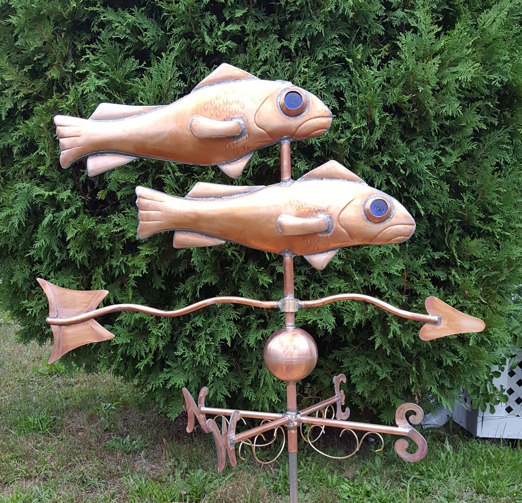 Sea Life Weathervane, Fish, Two Fish with Blue Glass Eyes